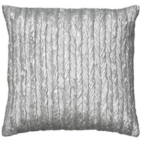 """Metallic Fabric with Gathers Silver Pillow Cover (18"""" x 18"""")"""