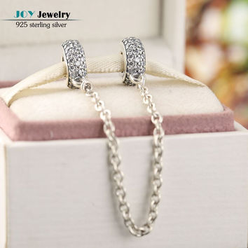 925 Sterling Silver AAA CZ Pave Thread Spacer Safety Chain Charms Beads Fit Pandora Bracelets & Bangles Diy Jewelry Accessories