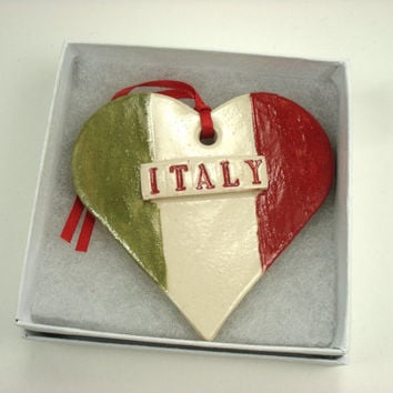 Italy Flag Ornament, Italian Ornament, Heart Tree ornament, Valentine Ornament, Italian Flag, Holiday Decor, I Love Italy, Italian Holiday