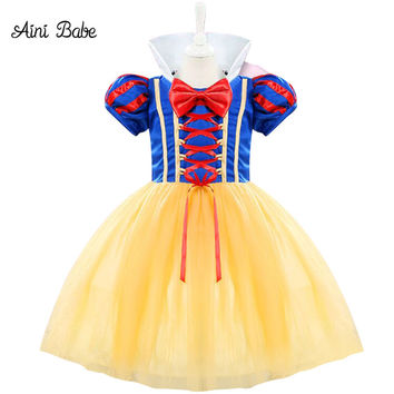 Aini Babe Halloween Costume Kids Infant Party Dress Girl Vestido Toddler Girl 1 2 Years Birthday Princess Snow White Theme Dress