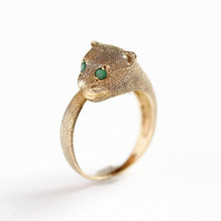 Emerald Jaguar Ring - 14k Yellow Gold Figural Cat Wrap Band - Retro 1960s Size 8 Green Gemstone Statement May Birthstone Fine Jewelry