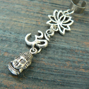 zen ear cuff yoga ear cuff  buddha lotus flower ohm om meditation Indie New age Namaste  in gypsy hippie hipster yoga belly dancer  style