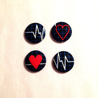 Black Heartbeat Covered Button Earrings • Nurses • Doctors • Heart  • Teal • Red • Girls • Accessories • Spring Fashion • Handmade