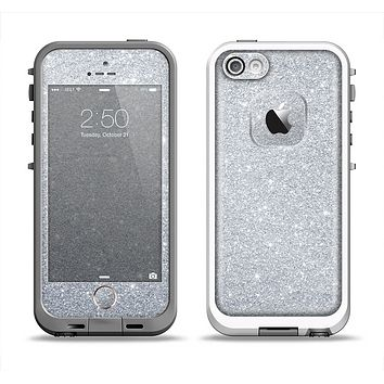 The Silver Sparkly Glitter Ultra Metallic Apple iPhone 5-5s LifeProof Fre Case Skin Set