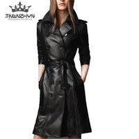 tnlnzhyn2018 Autumn Winter Women Leather Jacket double-breasted Coat pu faux leather Jacket Medium long Trench Coat Outwear Y378