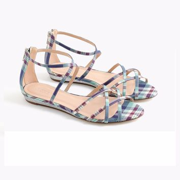J.Crew CARY MINI-WEDGE SANDALS IN PLAID SANDALS Size 6- 8 M
