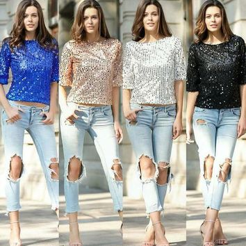 2017 hot sale spring fashion tops beads sequins sleeve blouse female T-shirt