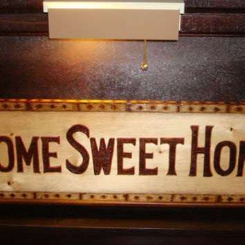 Extra Large Home Sweet Home Sign Wood burned and colored with oil  pencil on pine.