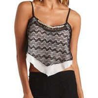 Crocheted Lace Beaded Flounce Crop Top - Black Combo
