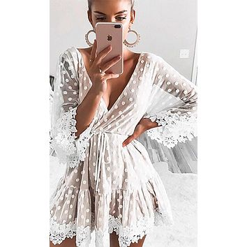 Silver Lake White Beige Sheer Mesh Lace Polka Dot Pattern Elbow Sleeve Cross Wrap V Neck A Line Mini Dress