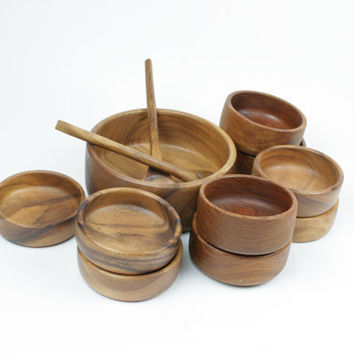Vintage Teak Wood Salad Bowl 12 Piece Set by RetroStock on Etsy