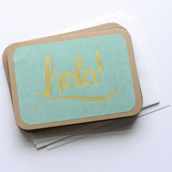 Hand Lettered Stationery - Hola in Teal & Gold
