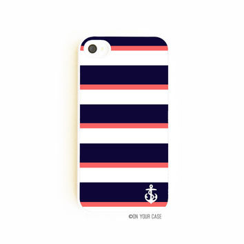 Nautical iPhone Case for iPhone 4 and iPhone 4S - Navy & Coral Stripe With Anchor