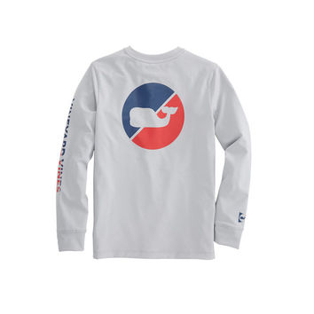 Boys Long-Sleeve Performance Burgee Dot T-Shirt