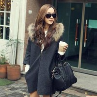 Hooded Faux Fur Collar 9/10 Sleeve Zipper Dropped Shoulder Coat