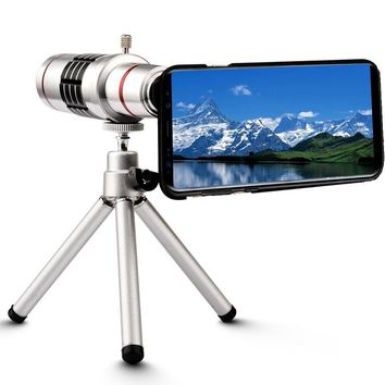18x Magnifier Manual Focus Telephoto Lens+Phone Holder+Case+Bag+Cleaning Cloth+Camera Photo Tripod For Samsung Galaxy S8 Plus