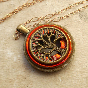 tree of life necklace: orange - wiccan pendant - celtic jewelry - tree necklace - elemental jewelry - unique jewelry - the artisan group