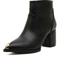 Black PU Biker Ankle Boots With Mental Detail