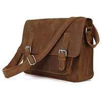 "Handmade Vintage Leather Messenger Bag / Leather Satchel / Leather Cross Body Bag / 11"" MacBook / iPad Bag D23"