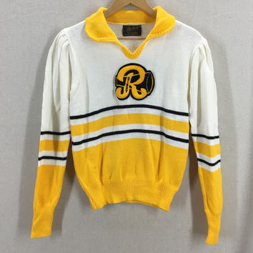 Vintage 60's 70's High School Cheerleading Striped Sweater Size Medium USA