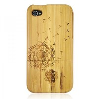 Handcarved Dandelion Bamboo Case for iPhone
