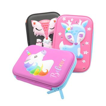 Unicorn Pencil Case Estojo Escolar Kalem Kutusu Etui Papelaria Deer Pencilcase Animal Lapices Fox Box School Kawaii Unicornio