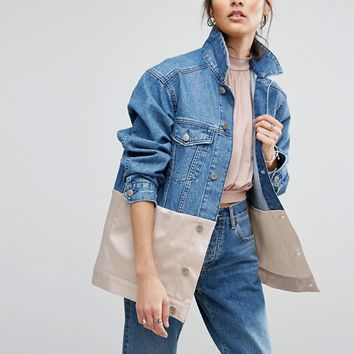 ASOS Denim Girlfriend Jacket wth Pink Satin Edge at asos.com