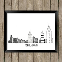 Mobile, Alabama Art, Mobile Skyline, Mobile Alabama, Zentangle