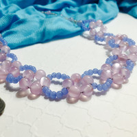Pink Necklace - Blue Necklace - Beach Style Necklace - Summer Necklace - Flower Necklace - Beaded Necklace