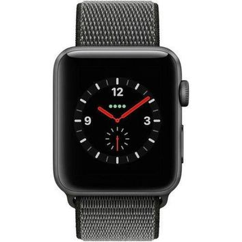 LMFGQ6 Apple Watch Series 3 - GPS+Cellular - Space Gray -Olive Sport Loop -38mm