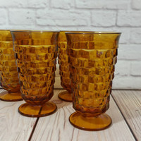 Vintage Indiana Footed Amber Glasses Set of 4