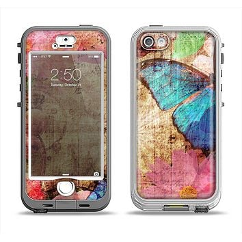 The Vintage Blue Butterfly Background Apple iPhone 5-5s LifeProof Nuud Case Skin Set