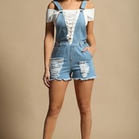 Baby Blues Lace Up Overalls