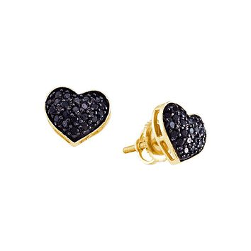 10k Yellow Gold Black Colored Diamond Womens Pave Cluster Screwback Stud Heart Fine Earrings 3/8 Cttw