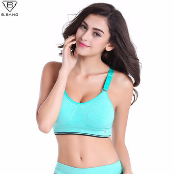 B.BANG Women Sports Bra Professional LEVEL-4 Bra for Fitness Running Gym Shockproof Bra Push Up Seamless Tops Adjustable Straps