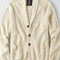 AEO Men's Ribbed Shawl Cardigan (Cream)