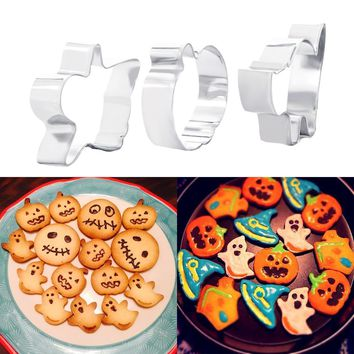 A Set of Stainless Steel 3pcs Cake Cookie Cutters Halloween Pumpkin Cats Biscuit Chocolate Soap Mold Baking Tools
