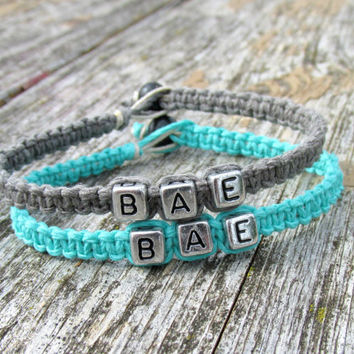 Teal and Grey BAE Bracelet for Couples, Before Anyone Else, Handmade Hemp Jewelry