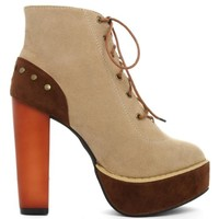 Brown Lace Up Platform Boots with Zipper Closure