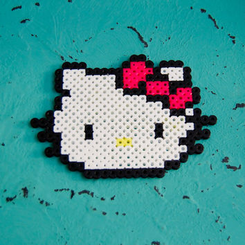 Hello Kitty Perler Bead - Magnet or Keychain