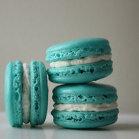 Tiffany Blue Coconut Buttercream French Macaron - Christmas Gift Cookies