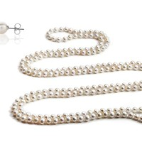 "100"" Genuine Freshwater Pearl Necklace with Free Pearl Stud Earrings"