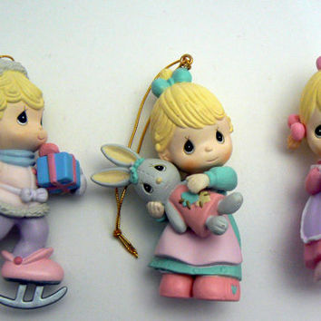 Precious Moments Christmas Ornament Lot 3 Girl Ornaments Skating Bunny Kitten Pastel Pink Blue Mint Green Home for the Holidays Collection