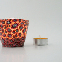 Red Petite Flowers on the Candle Holder by ArzuMusa on Etsy
