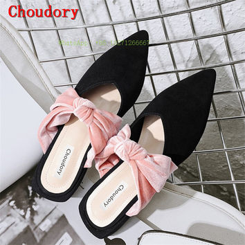 Choudory 2017 Pointed Toe Chunky Low Heels Slides Butterfly-knot Slippers Mules Mixed Colors Bowknot Summer Shoes Women Pumps