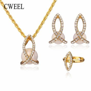 CWEEL Dubai Gold Color Jewelry Sets Imitation Crystal African Necklace Sets For Women Wedding Fashion Costume Jewellery