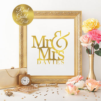 Mr and Mrs Name Sign, Wedding Print, Real Gold Foil Print, Wedding Signs, Wedding Decoration, Wedding Wall Decor, Gold Foil Sign,Love Print