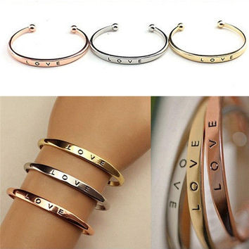 Stainless Steel Men Women Screw Hand Fashion Love Wedding Cuff Bangle Bracelet  03-023