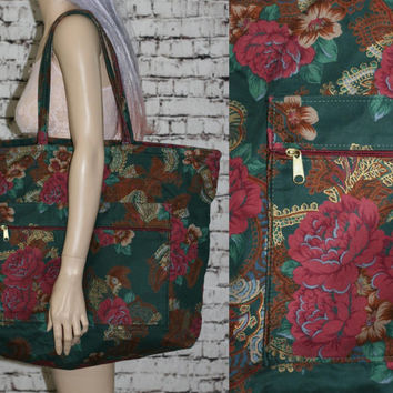 90s floral canvas duffle bag weekender overnight tote gym beach tapestry large wine green grunge hipster boho gypsy festival goth 70s 80s