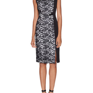 Maicy Contrast Lace Dress with Side Split